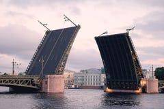 Abra a ponte do palácio do rio de Neva Imagem de Stock Royalty Free