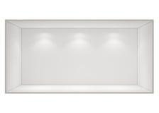 Abra a sala de caixa vazia com as luzes do ponto isoladas no fundo branco Imagem de Stock