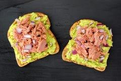 Abra sanduíches do abacate com o atum contra a ardósia escura Fotografia de Stock Royalty Free