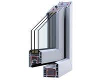 Abra a seção de ross do  de Ñ com um perfil do PVC da janela 3D rendem, isolado no fundo branco Fotografia de Stock Royalty Free