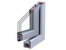Abra a seção de ross do  de Ñ com um perfil do PVC da janela 3D rendem, isolado no fundo branco Fotos de Stock Royalty Free