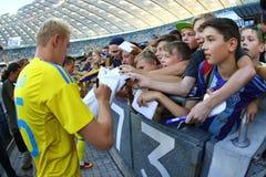 Abra a sessão de formação da equipa de futebol do nacional de Ucrânia Fotografia de Stock Royalty Free