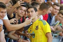 Abra a sessão de formação da equipa de futebol do nacional de Ucrânia Foto de Stock
