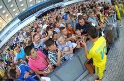 Abra a sessão de formação da equipa de futebol do nacional de Ucrânia Imagem de Stock Royalty Free