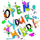 Abra seu cartão da mente colorido Fotografia de Stock