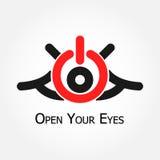 Abra seus olhos (o símbolo de ligar/desligar da volta) ilustração royalty free