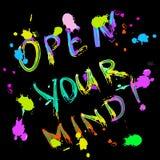 Abra su tarjeta de felicitación de la mente colorida Fotos de archivo libres de regalías