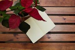 Abra a tabela de madeira de encontro do bloco de desenho Uma flor em um potenciômetro workspace foto de stock