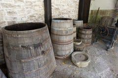 Abra tambores de madeira velhos Fotografia de Stock Royalty Free