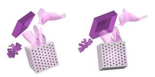 Abra a tampa da caixa de presente no ar Foto de Stock Royalty Free