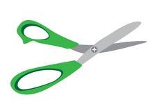 Abra tesouras verdes no fundo branco ilustração stock
