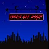 Abra toda la noche Imagen de archivo libre de regalías