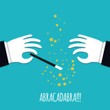 Abracadabra cartoon concept. Cartoon Magicians hands in white gloves holding a magic wand with stars sparks. Abracadabra flat design on green background Royalty Free Stock Image