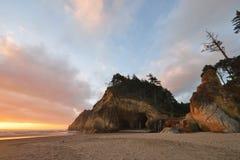 Abrace la puesta del sol del parque de estado del punto, Oregon septentrional Fotos de archivo libres de regalías