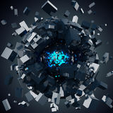 Abraction sphere. Abstract exploding sphere consisting of cubes Royalty Free Stock Photography