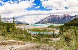 Abraham Lake Alberta, Kanada Arkivfoto