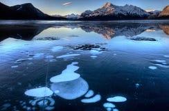 Abraham Lake i vinter Royaltyfri Fotografi