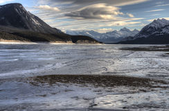 Abraham Lake Winter Royaltyfri Bild