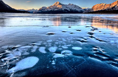 Abraham Lake Winter. Ice formations bubbles design stock photo