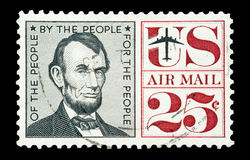 Abraham Lincoln. Airmail stamp printed in USA featuring a portrait of Abraham Lincoln , circa 1960 royalty free stock image