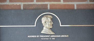 Abraham Lincoln Address Plaque Royaltyfri Foto