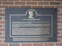 Abraham Lincoln Address Text en Plaque stock fotografie