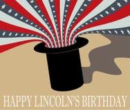 Abraham Lincoln Birthday feliz Sombrero de copa y bandera Imagenes de archivo