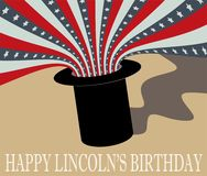 Abraham Lincoln Birthday heureux Chapeau supérieur et drapeau Images stock
