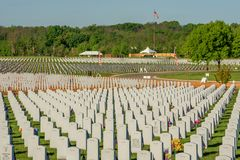 Abraham Lincoln Cemetary resting place of our fallen heroes. In Joliet, Illinois Stock Photos