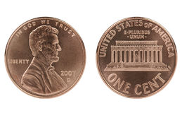 Abraham Lincoln cent coin. On white background Royalty Free Stock Image