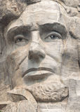 Abraham Lincoln close up on Mount Rushmore National Memorial Sculpture stock image