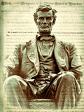 Abraham Lincoln and the Emancipation Proclamation. This is a wonderful bronze statue of Abraham Lincoln seated on a beautiful chair with and eagle crest in Royalty Free Stock Photography