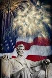 Abraham Lincoln Fireworks Royaltyfria Foton
