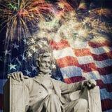 Abraham Lincoln Fireworks Royaltyfri Foto