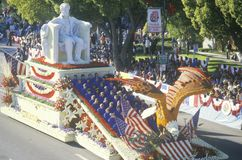 Abraham Lincoln Float i Rose Bowl Parade, Pasadena, Kalifornien fotografering för bildbyråer