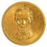 Abraham Lincoln Golden Dollar mynt Royaltyfri Fotografi