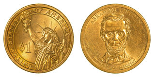 Abraham Lincoln Golden ett dollarmynt Royaltyfria Foton