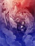 Abraham Lincoln, grabando el ejemplo ilustración del vector