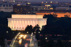 Abraham Lincoln Memorial and Arlington Memorial Bridge at night - Washington DC, USA Stock Image