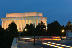 Abraham Lincoln Memorial and Arlington Memorial Bridge at night - Washington DC, USA stock photography