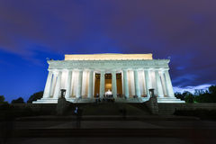 Abraham Lincoln Memorial bij nacht, Washington DC de V.S. Stock Foto's