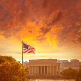 Abraham Lincoln Memorial building Washington DC. Abraham Lincoln Memorial building sunset Washington DC US USA Stock Photo