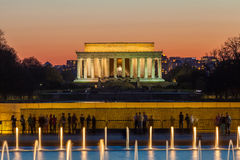 Abraham Lincoln Memorial på natten - Washington DC, Förenta staterna Arkivbild