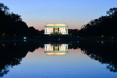 Abraham Lincoln Memorial and and reflection over the pool at night - Washington DC, USA. Abraham Lincoln Memorial and and reflection over the reflection pool at Stock Photography