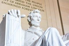 Abraham Lincoln Memorial Sitting Chair berömd gränsmärkeCloseup P Arkivbild