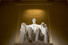 Abraham Lincoln memorial statue at night. Abraham Lincoln memorial statue illuminated at night in Washington D,C, America royalty free stock photography