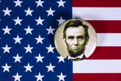 Abraham Lincoln och USA flaggan Royaltyfri Fotografi