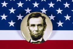 Abraham Lincoln och USA flaggan Royaltyfri Bild