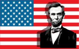 Abraham Lincoln portrait. American President Abraham Lincoln portrait against USA flag royalty free illustration