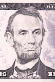 Abraham Lincoln-portret van vijf dollarsrekening Stock Afbeelding